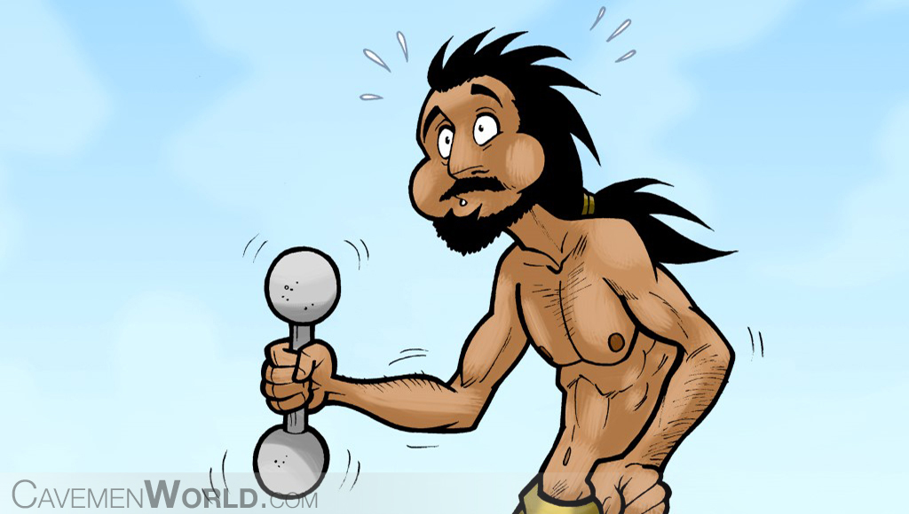 An ectomorph caveman is exercising with a heavy weight