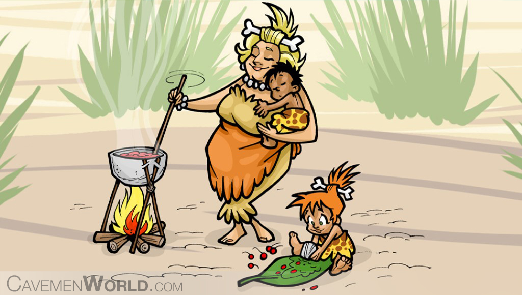 a cavewoman caring for her children and preparing them food