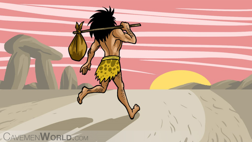 a caveman is traveling with a bag on his back at sunset