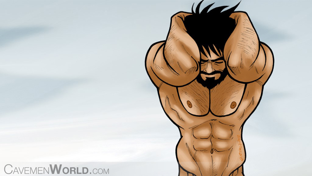 a strong caveman with amazing abs