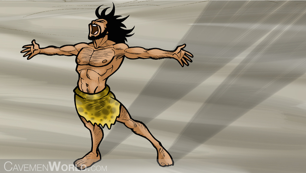 A strong caveman is yelling