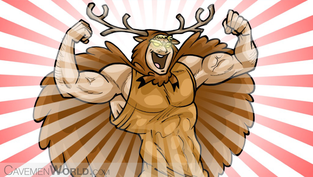 a super strong caveman with deer horns is yelling