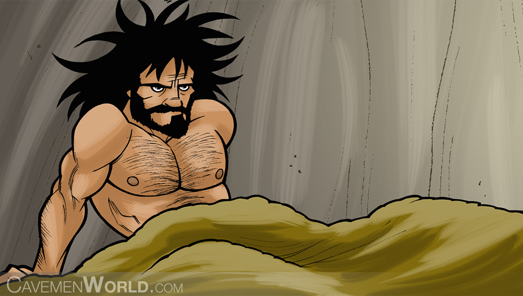 a caveman is getting out of bed