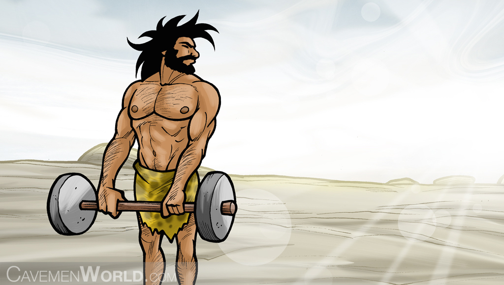a young healthy cavemen doing workouts with weights