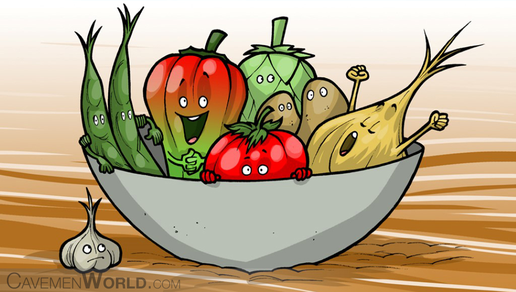 a bowl full of happy vegetables, tomatoes, potatoes, garlic, onion, green pepper