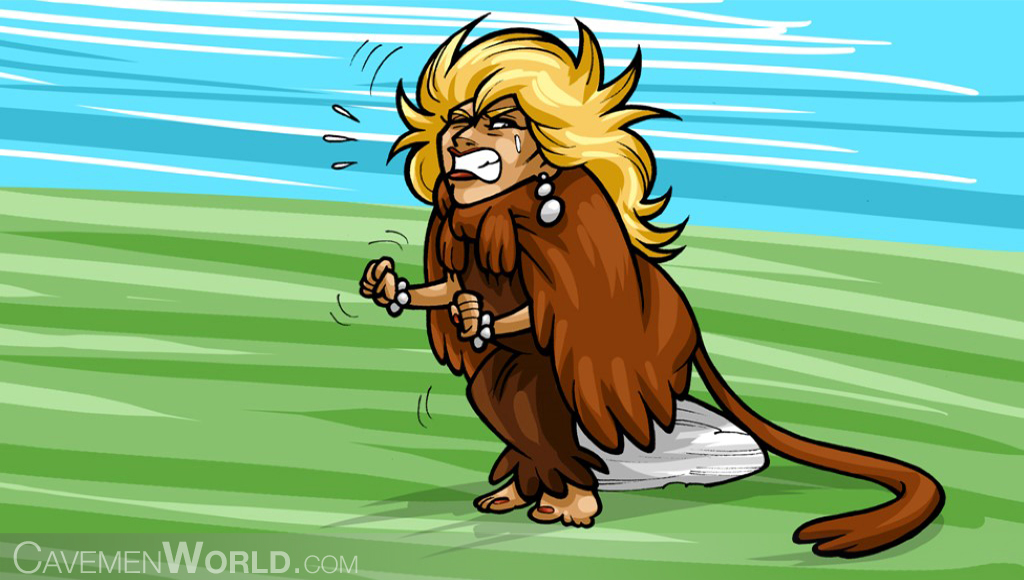 a caveman woman is suffering pain in the rear caused by hemorrhoids