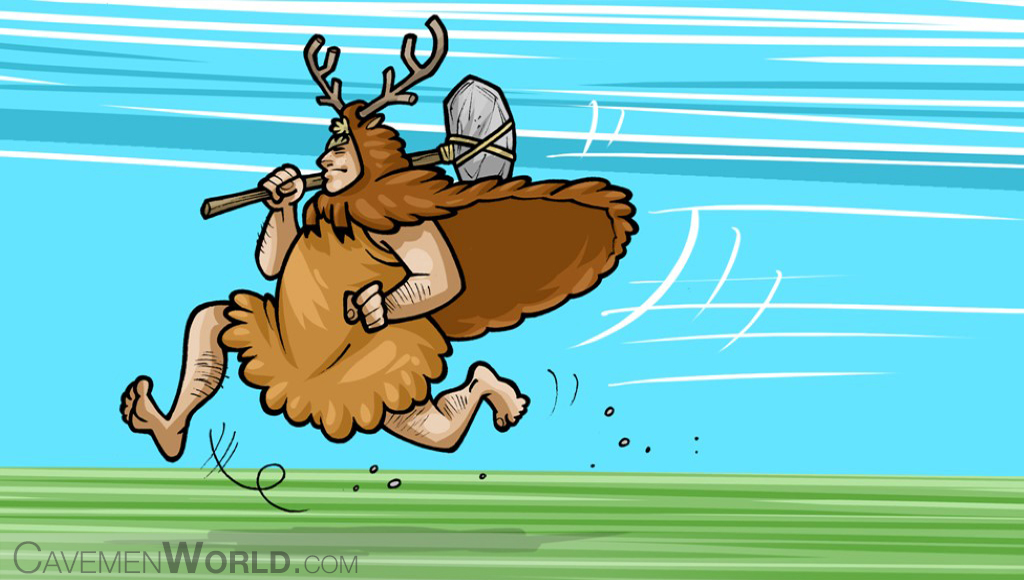 a caveman running with a lot energy given by fat and sugar