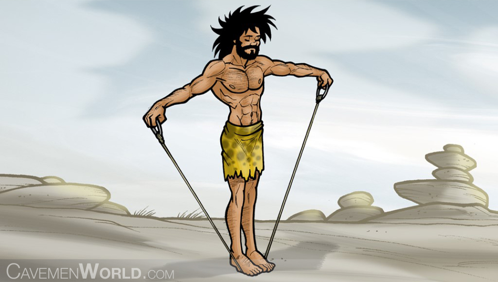 a young strong caveman is doing exercises and resistance workouts with a band