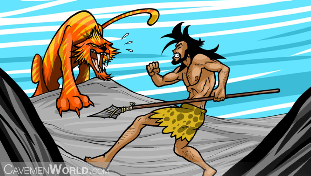 a caveman is fighting against a tiger