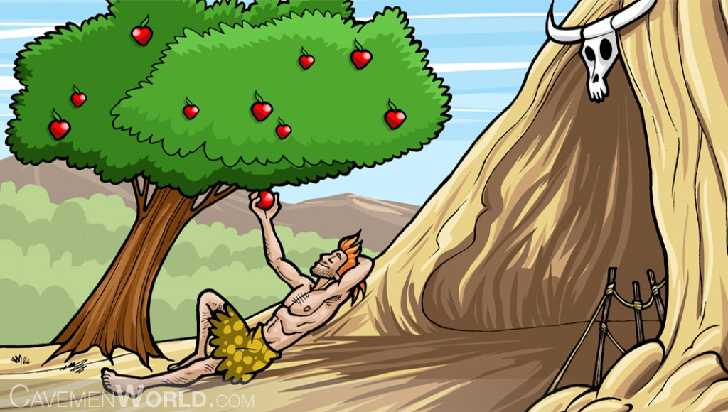 a caveman is collecting and eating apples from a tree, at front of his cave