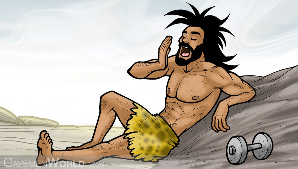 a caveman is tired of doing exercises