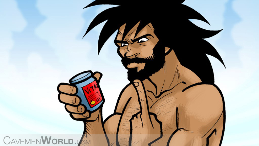 a caveman is thinking about taking vitamins