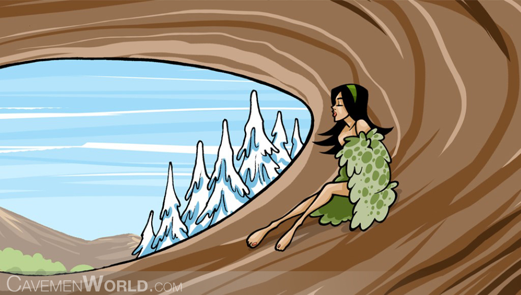 a cavewoman is cold on her cave at winter