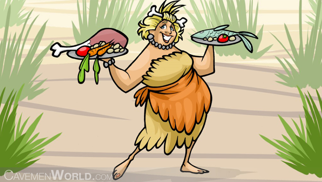 a cavewoman presents the paleo diet with two dishes of chicken, fish and vegetables