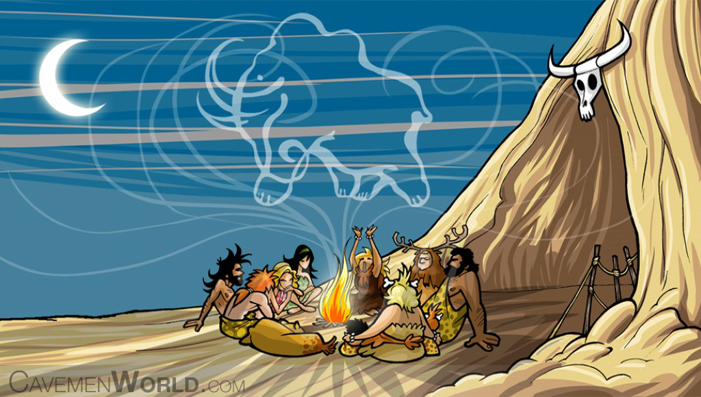 a group of cavemen is praying around a fire