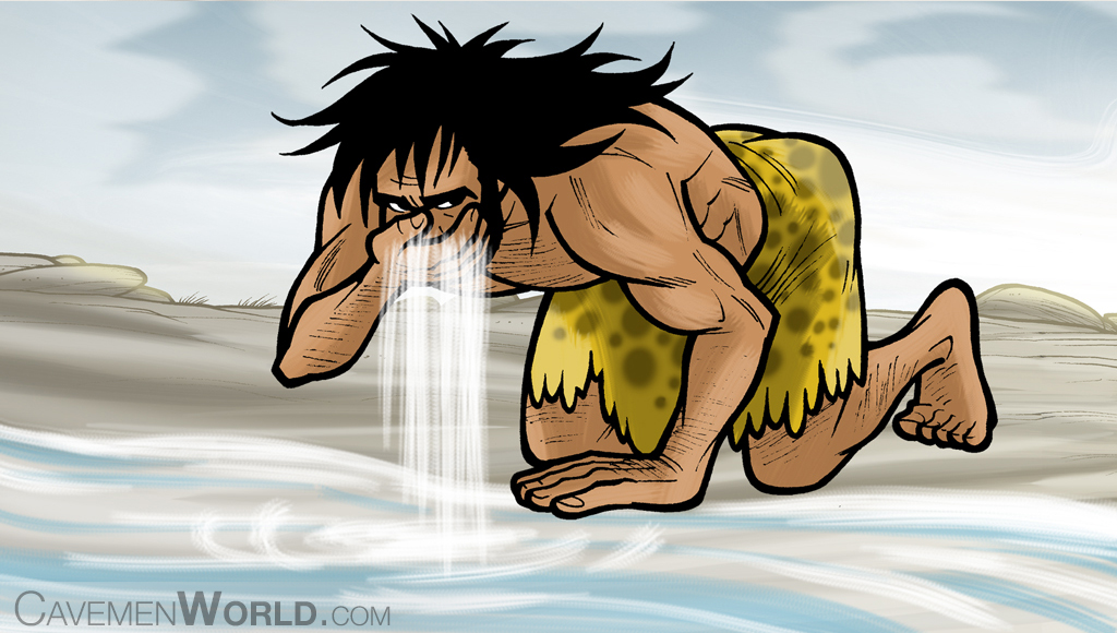 a caveman is drinking water in a river
