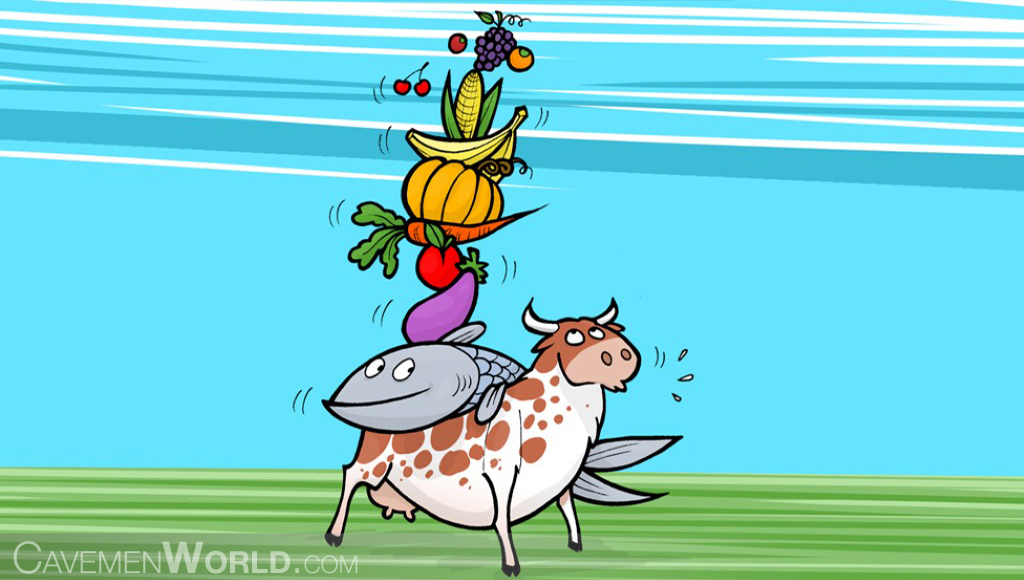 a cow is carrying a fish and many fruits and vegetables