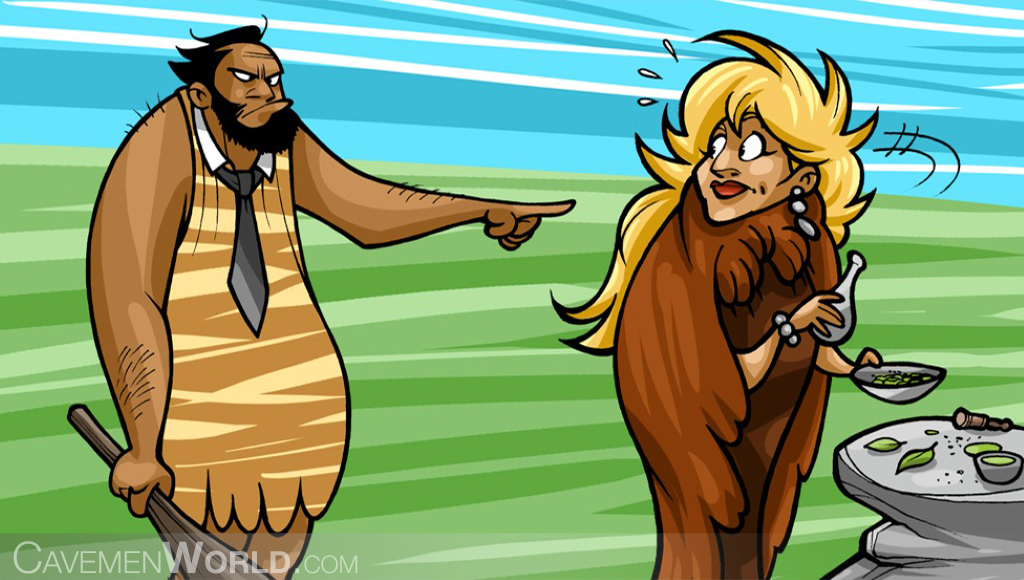 a caveman is angry with a cavewoman that is preparing some meds