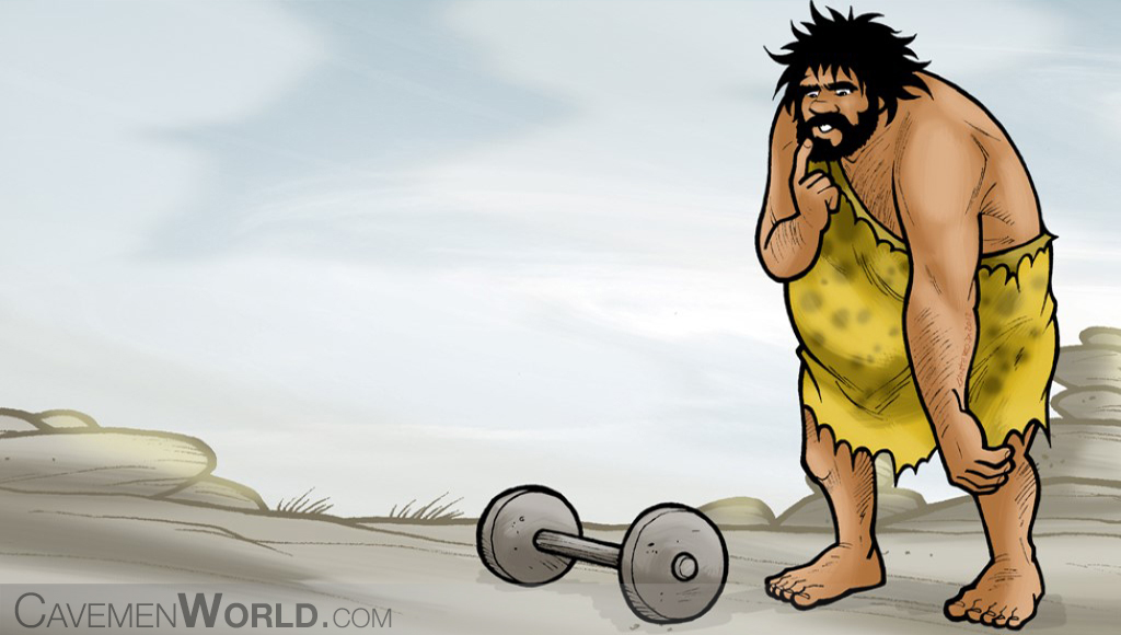 a very fat caveman is looking at weights to make some exercise