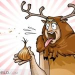 a caveman is surprised by the health benefits of onions