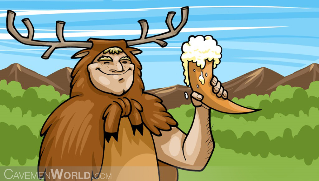 a caveman with horns is drinking beer