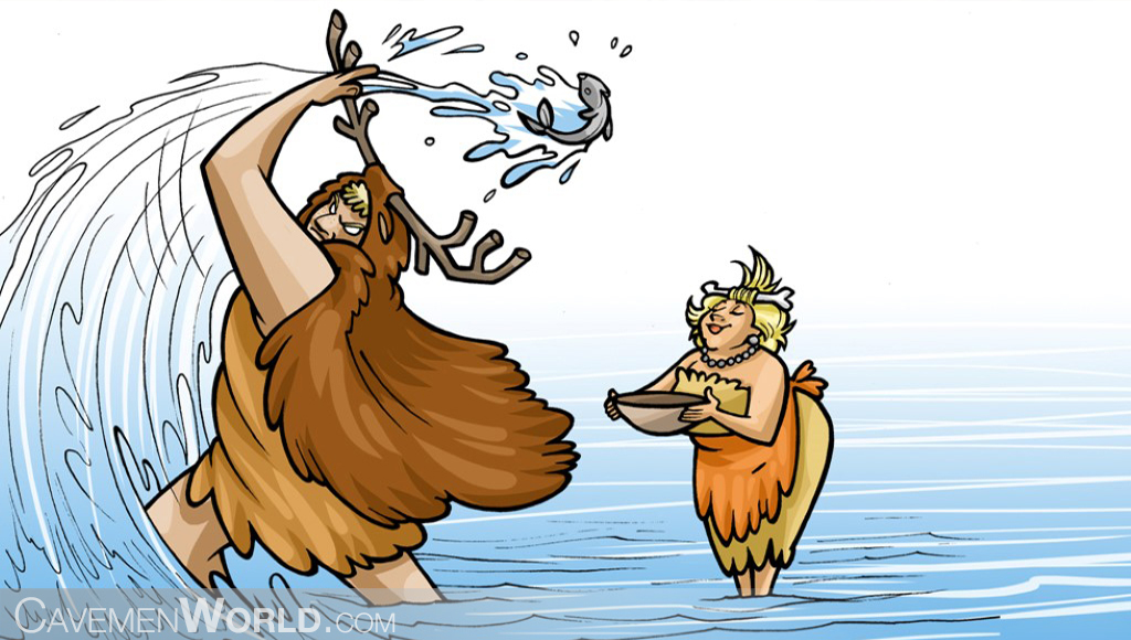 two cavemen are fishing in the river