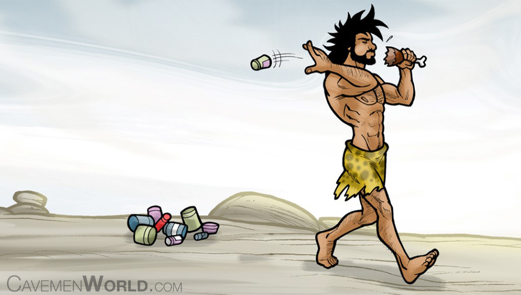a caveman is throwing canned food because prefers natural food