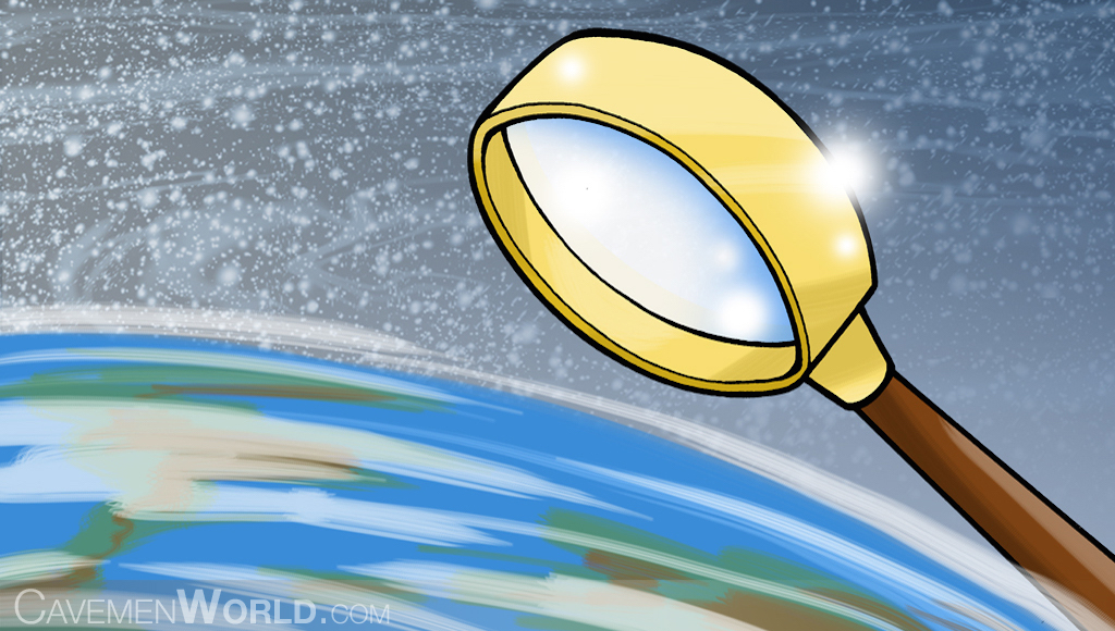 magnifying glass lokking at earth