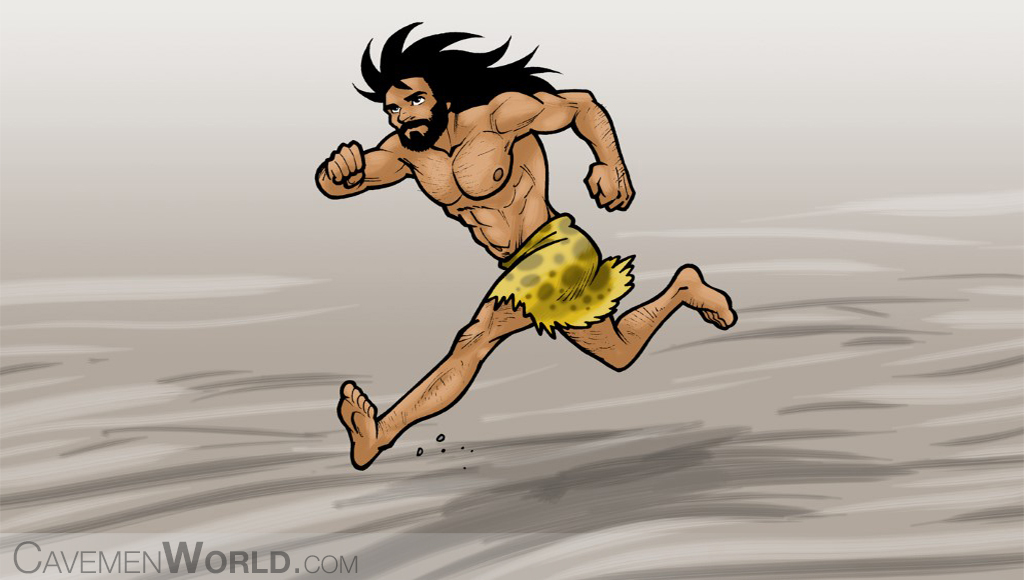 a young caveman is running