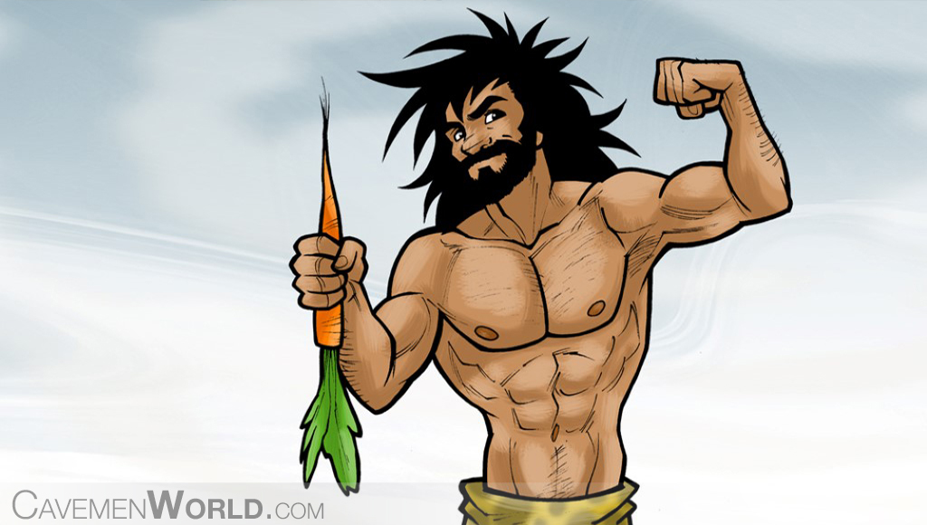 a strong caveman with a carrot