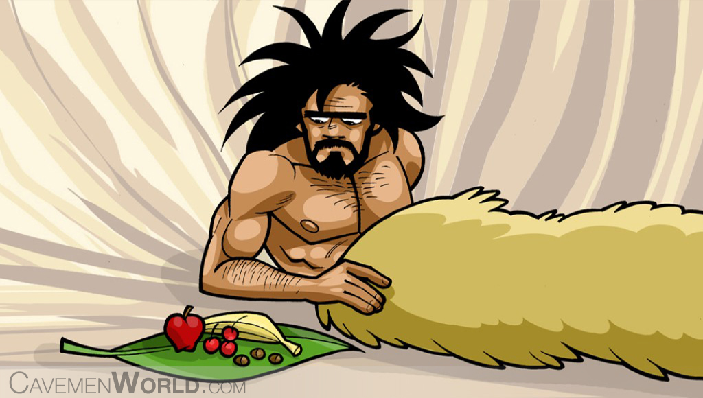 a caveman is eating his breakfast at bed