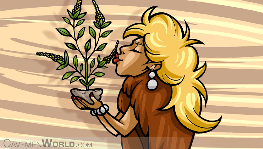 a cavewoman is smelling a plant of tulsi