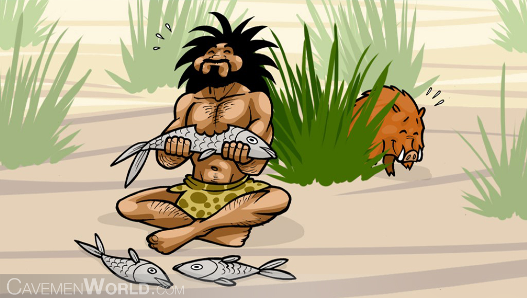 a caveman is eating fishes, while a wild boar is looking at him