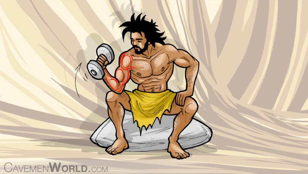 a caveman is lifting weights repeatedly