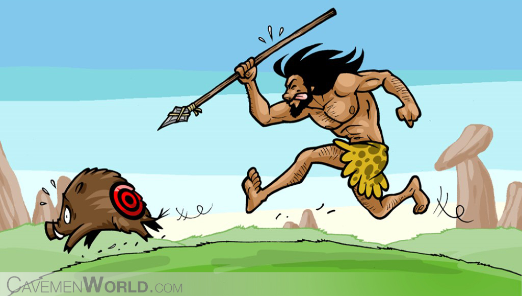 a caveman is hunting a wild boar with a spear and running after it