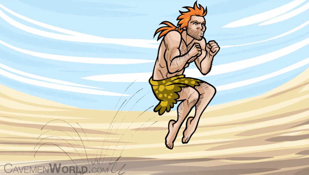 a young healthy caveman is jumping and doing some exercise as part of his Paleo Diet program