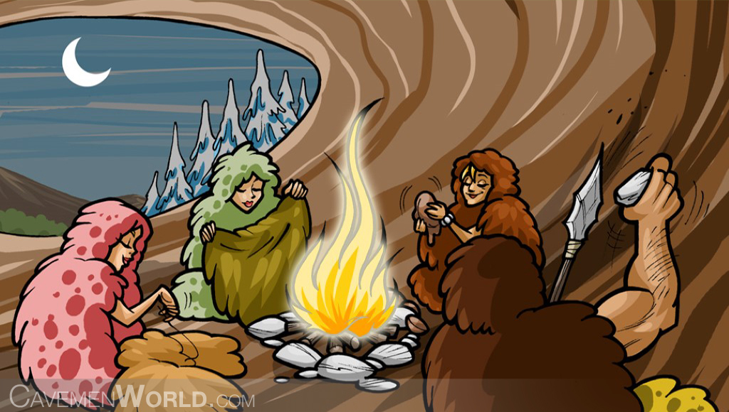 a caveman family is warming around a fire inside a cave