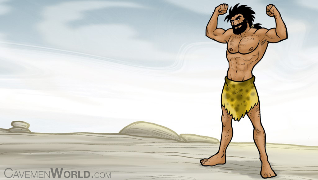 a strong caveman with a mesomorph body type is doing exercises