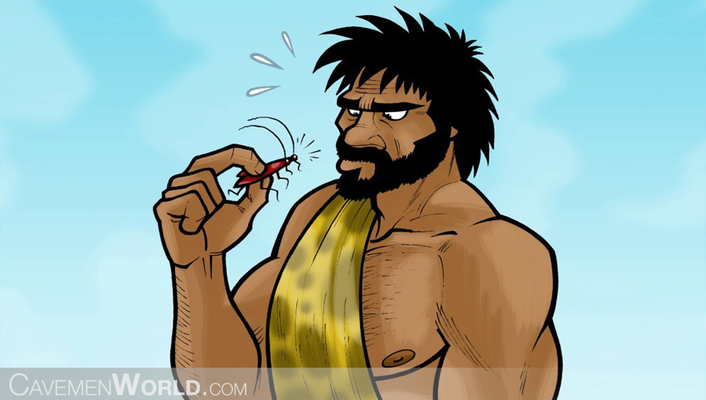 a caveman is looking at a roach