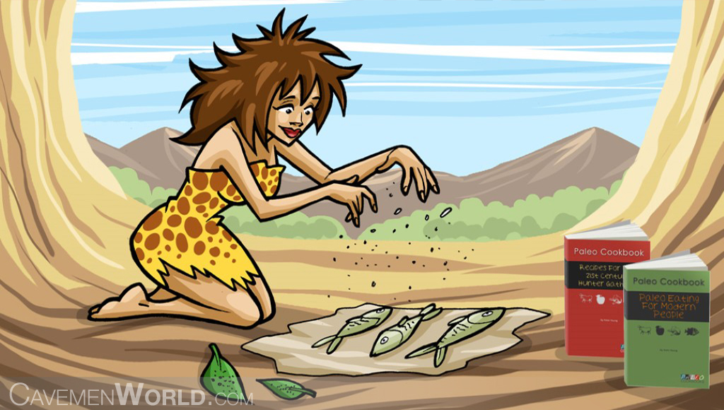 a cavewoman is learning recipes from a paleo cookbook