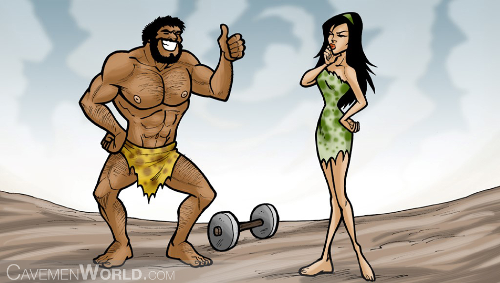 a strong caveman is showing to a cavewoman how to do exercises with weights
