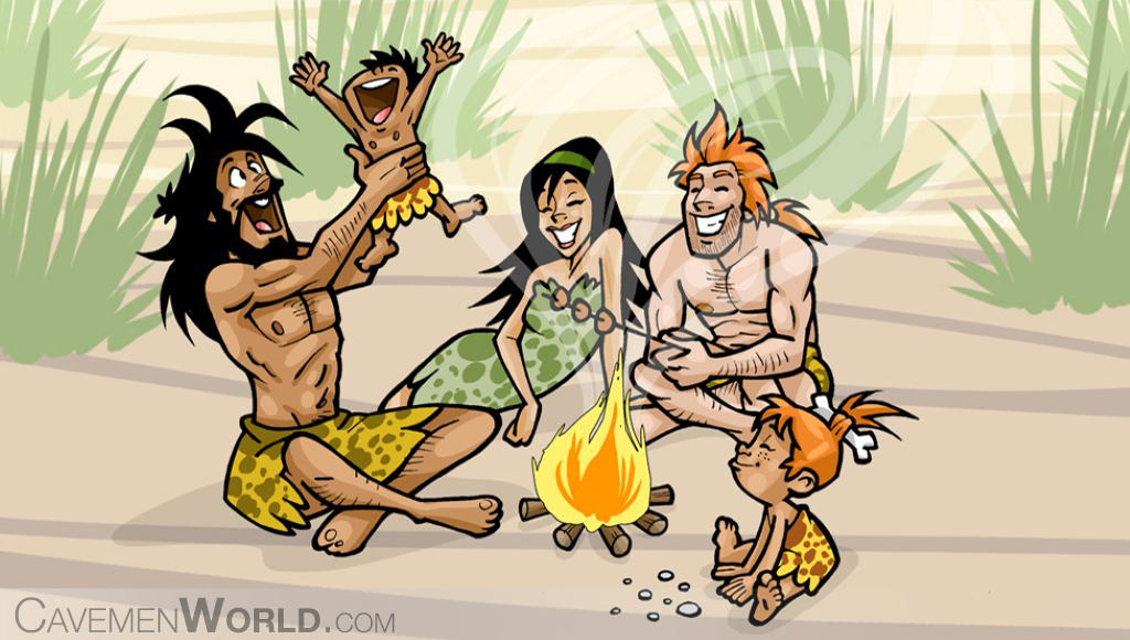 a cavemen family is happy around a fire