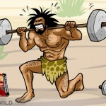 a caveman is doing exercise lifting weights