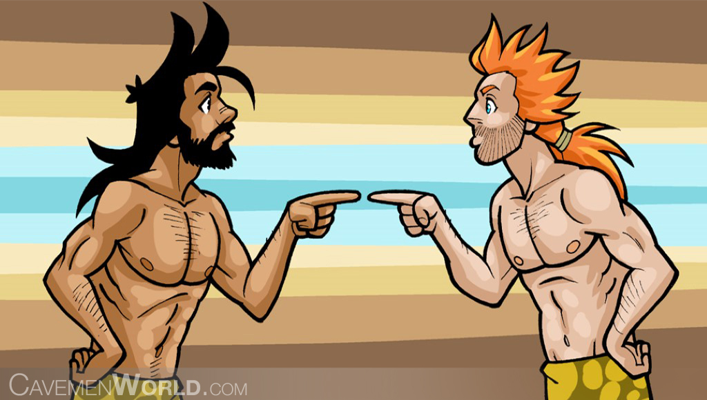 two cavemen are arguing